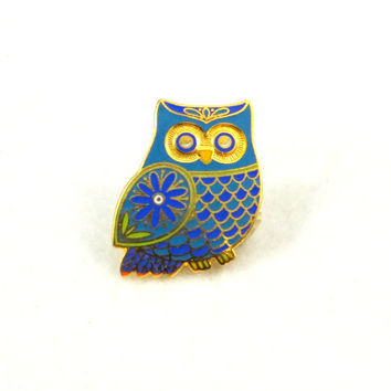 Vintage Enameled Owl Pin