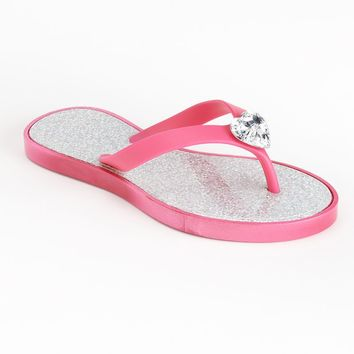 Jeweled Glitter Jelly Flip-Flops - Girls (Pink)