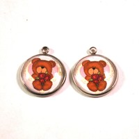 Valentines Day Bear 20mm Stainless Steel Glass Dome Charms, Set of 2 Earring Pairs