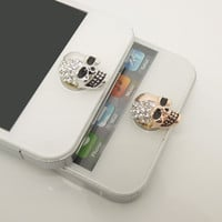HOT Picks 1PC Bling Crystal Alloy Halloween Skull Jewel iPhone Home Button Sticker Charm for iPhone 4,4s,4g,5,5c Cell Phone Charm Lover Gift