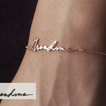 Actual Handwriting Bracelet - Personalized Signature Bracelet - Memorial Jewelry - Sympathy Gift - Mother's Gift PB03