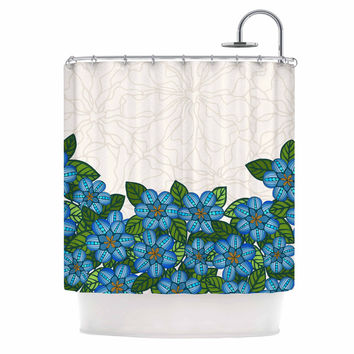 "Art Love Passion ""Blue Flower Field"" Beige Blue Shower Curtain"