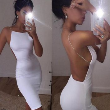 Backless Strap Solid Bodycon Mini Dress