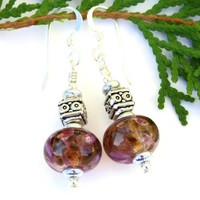 Pink and Brown Lampwork Earrings, Fancy Pewter Sterling Handmade Beaded Jewelry