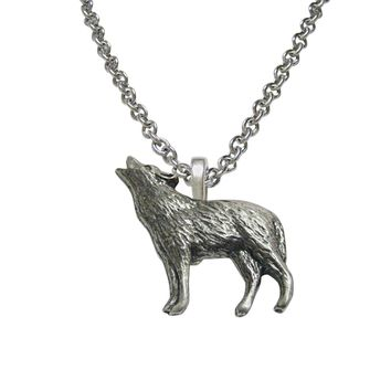 Small Textured Wolf Pendant Necklace