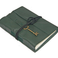 Green Leather Journal with Key Charm Bookmark