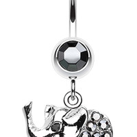 Elephant Walk Dangle Belly Button Ring