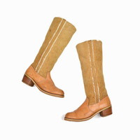 Vintage Shearling Leather Tall Boots in Butterscotch - women's 10/10.5
