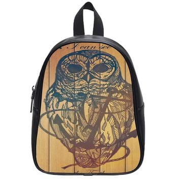 Owl On The Anchor Wood School Backpack Large