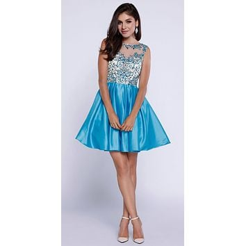 Turquoise Appliqued Homecoming Short Dress Sleeveless
