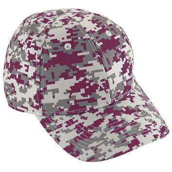 Augusta 6209 Camo Cotton Twill Cap Youth - Maroon Camo