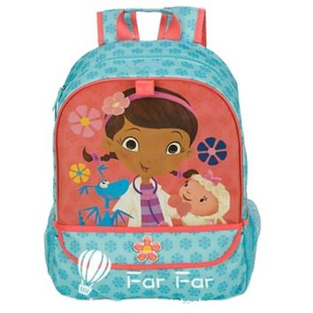 Cartoon Blue Doc McStuffins Bag Schoolbag Primary School Backpacks Children School Bags Rucksacks for Girls Kids