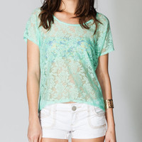 Full Tilt Essential Lace Front Womens Tee Mint  In Sizes