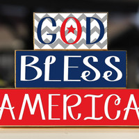 God Bless America - Trio Wood Blocks Stack - Red/White/Blue Chevron - Home Decor/Gift - Wooden Blocks