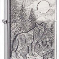 Zippo Wolf Emblem Pocket Lighter, Brushed Chrome