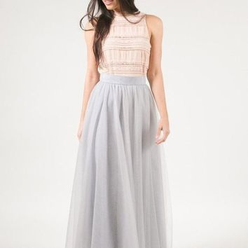 Magic in Manhattan Tulle Maxi Skirt - Silver