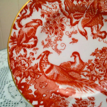 "Royal Crown Derby Red Aves side plate 6.25"" dated 1985"