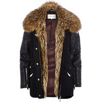 River Island Womens Black faux fur collar wool parka jacket