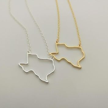 State of Texas Outline Necklace