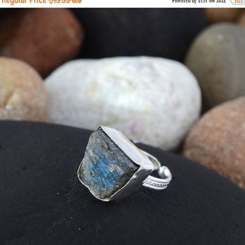 SaleHandmadeJewelry Large Stone Ring Gift For Her Labradorite Jewelry Silver Ring  Rough Natural Labradorite Gemstone Rough Ring Silver Ring