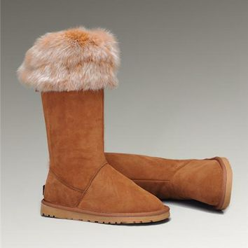UGG Fox Fur Tall Boots 5369 Chestnut