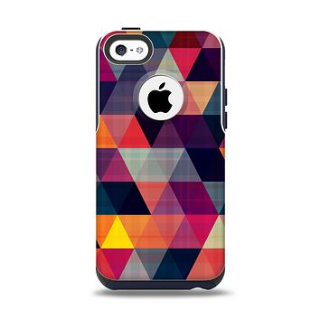 The Triangular Abstract Vibrant Colored Pattern Apple iPhone 5c Otterbox Commuter Case Skin Set
