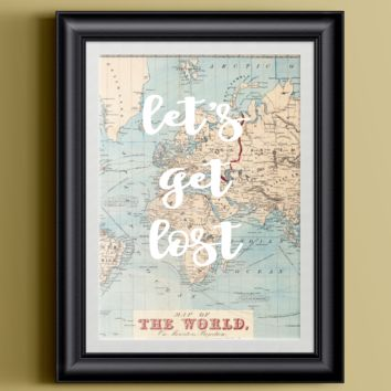 Cute Travel Print | 8.5 x 11 | Let's Get Lost | Wall Decor