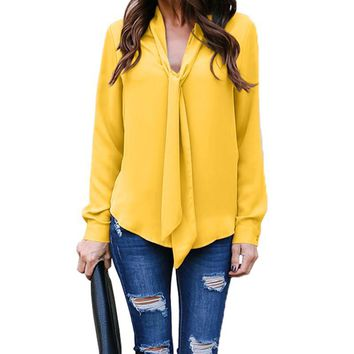 Women Chiffon V Neck Blouse Shirt Tops Ladies Long Sleeve Party Casual Tops WS572E