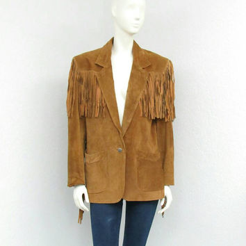 Vintage 80s Brown Fringe Leather Jacket, Western Jacket, Suede Jacket, Fringe Jacket, Country Western Wear, Cowgirl Jacket, Blazer