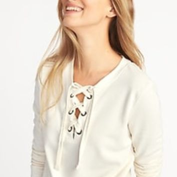 Relaxed Lace-Up French-Terry Sweatshirt for Women | Old Navy