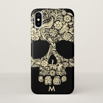 Custom Monogram Black and White Floral Sugar Skull iPhone X Case