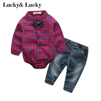 New year baby born gentleman baby boy clothes long sleeve jumpsuit with bow+jeans hot sale baby clothes