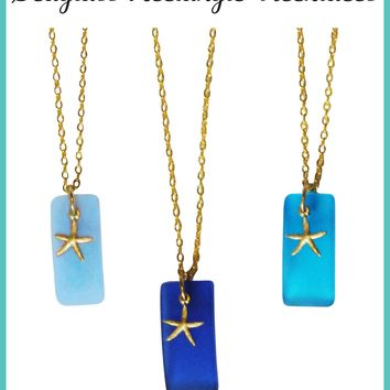 Seaglass Rectangle Necklace-Choose Your Color