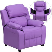Deluxe Heavily Padded Contemporary Lavender Vinyl Kids Recliner with Storage Arms