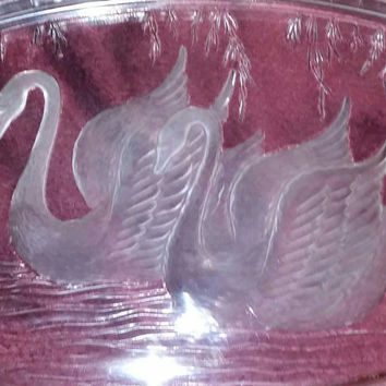"Stunning Vintage Mikasa Walther Glass ""Swans on A Pond"" Fine Crystal Serving Tray - Made In Germany"