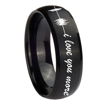 10MM Sound Wave i love you more more Brush Black Dome Tungsten Carbide Men's Ring