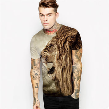 New Fashion Lion head hip hop T Shirt print galaxy t-shirt women men tees summer style pizza cat Justin Bieber t shirt camiseta