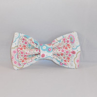 Pink and Blue Floral Fabric Hair Bow With Choice of Elastic Band or Clip