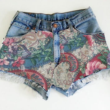Shorts High waisted denim Paisley MADE TO ORDER