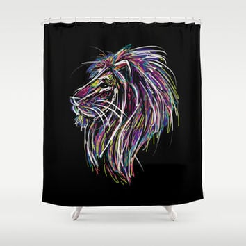 Neon Glow Lion (He)art Shower Curtain by Zany Du Designs