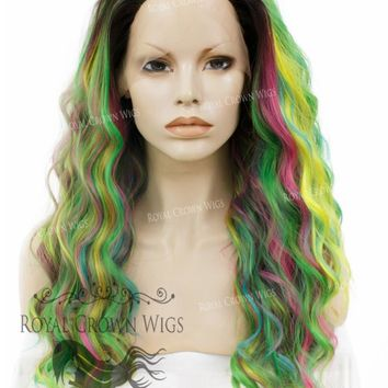 """24"""" Heat Safe Synthetic Lace Front """"Ada"""" with Wavy Texture in Space Rainbow"""