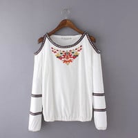Floral Embroidered Cutout-Shoulder Long-Sleeve Shirt