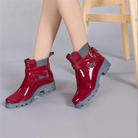 Winter Rain Boots Pu Leather Waterproof Women's Ankle Boots Flat With Rubber Shoes Elastic Band Slip On Women snow boots