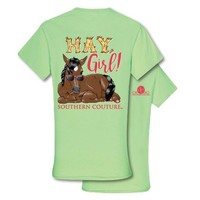 Southern Couture Preppy Hay Girl Horse T-Shirt