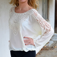 Free Falling Crochet Sleeve Cream Top