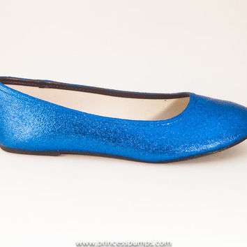 Royal Blue Glitter Ballet Flat Slipper Custom Shoes