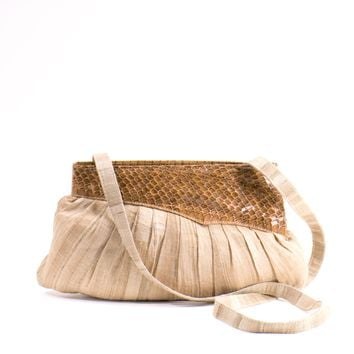 Raw Silk Snakeskin Neutral Color Purse Small Leather SPRING Bag