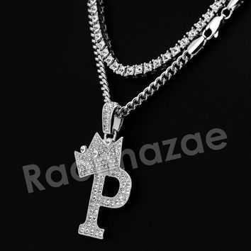 Iced Out King Crown P Initial Pendant Necklace Set.