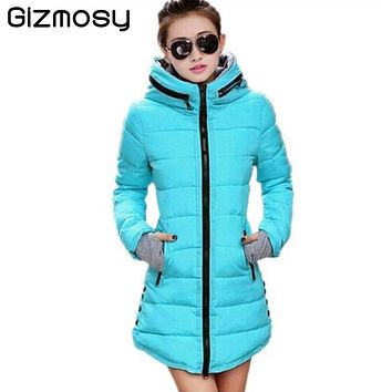 Winter Coat Women Cotton Down Padded Jacket Hooded Parkas Womens Winter Outwear Overcoats Plus Size Solid Jackets Coats SY007