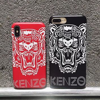 KENZO Trending Women Men Stylish Tiger Pattern iPhone Soft Phone Cover Case For iphone 6 6s 6plus 6s-plus 7 7plus iPhone 8 8 Plus iPhone X (2-Color) I13563-1
